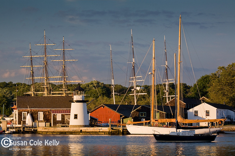 Tall ship masts on the Mystic River at Mystic Seaport, Mystic, CT, USA