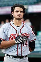 Richmond Flying Squirrels catcher Aramis Garcia (14) during the national anthem before a game against the Altoona Curve on May 15, 2018 at Peoples Natural Gas Field in Altoona, Pennsylvania.  Altoona defeated Richmond 5-1.  (Mike Janes/Four Seam Images)