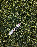 Worker on boat traversing the volga delta by Andrey Belavin