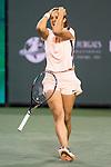 March 16, 2018: Daria Kasatkina (RUS) reacts after defeating Venus Williams (USA) 4-6, 6-4, 7-5 in Wells Tennis Garden in Indian Wells, California. ©Mal Taam/TennisClix/CSM