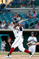 Delino DeShields #3 of the Lancaster JetHawks bats against the Bakersfield Blaze on April 20, 2013 at The Hanger in Lancaster, California. (Larry Goren/Four Seam Images)