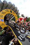 Jan Ghyselinck (BEL) Cofidis powers down the start ramp of the Prologue of the 99th edition of the Tour de France 2012, a 6.4km individual time trial starting in Parc d'Avroy, Liege, Belgium. 30th June 2012.<br /> (Photo by Eoin Clarke/NEWSFILE)