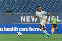 FOXBOROUGH, MA - AUGUST 5: Pecka #7 of North Carolina FC brings the ball forward during a game between North Carolina FC and New England Revolution II at Gillette Stadium on August 5, 2021 in Foxborough, Massachusetts.