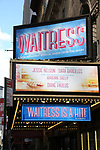 """Theatre Marquee for """"Waitress"""" celebrating 'Sugar, Butter, Flour: The Waitress Pie Cookbook at The Brooks Atkinson Theatre on June 27, 2017 in New York City."""