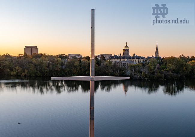 October 19, 2021; Stainless steel cross on the south side of Moreau Seminary (Photo by Matt Cashore/University of Notre Dame)