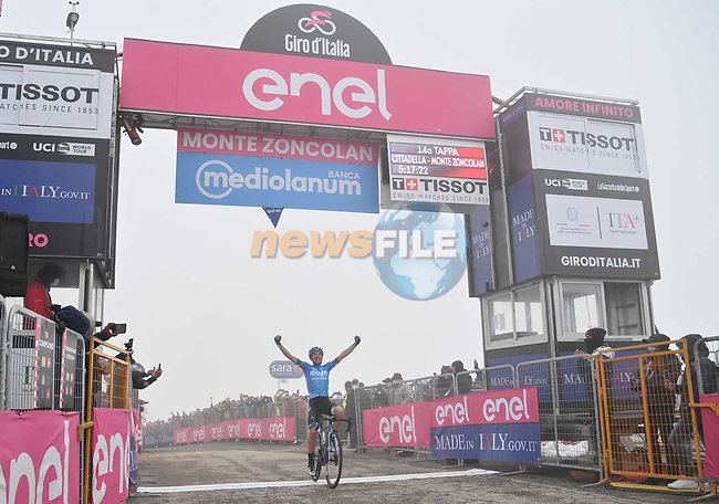 Lorenzo Fortunato (ITA) Eolo-Kometa Cycling Team from the breakaway wins solo Stage 14, his first ever professional victory, of the 2021 Giro d'Italia, running 205km from Cittadella to Monte Zoncolan, Italy. 22nd May 2021.  <br /> Picture: LaPresse/Gian Mattia D'Alberto   Cyclefile<br /> <br /> All photos usage must carry mandatory copyright credit (© Cyclefile   LaPresse/Gian Mattia D'Alberto)