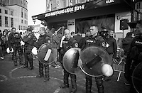 (riot) police out in force before the arrival of King Filip of Belgium<br /> <br /> Liège-Bastogne-Liège 2014