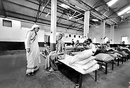 """Calcutta, India. April 04, 1975. Mother Teresa vists patients at her free hospice for the poor in Calcutta. The first Home for the Dying opened in 1952 and was a free hospice for the poor. Mother Teresa (Agnes Gonxha Boyaxihu) the Roman Catholic, Albanian nun revered as India's """"Saint of the Slums,"""" was awarded the 1979 Nobel Peace Prize."""