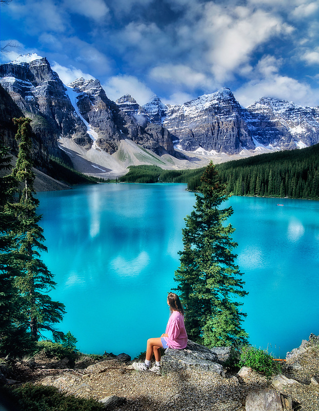 Moraine Lake and young viewer. Banff National Park, Canada.