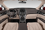Stock photo of straight dashboard view of a 2019 Lincoln Nautilus Select 5 Door SUV