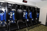 Kansas City, Kansas - Saturday April 16, 2016: A general view of the FC Kansas City locker room before the game against Western New York Flash at Children's Mercy Park. Western New York won 1-0.