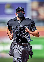 6 June 2021: Umpire Thomas Fornarola works home plate during a game between the Binghamton Rumble Ponies and the New Hampshire Fisher Cats at Northeast Delta Dental Stadium in Manchester, NH. The Rumble Ponies defeated the Fisher Cats 9-6 to close out their 6-game series. Mandatory Credit: Ed Wolfstein Photo *** RAW (NEF) Image File Available ***