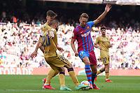 26th September 2021; Nou Camp, Barcelona, Spain: La Liga football, FC Barcelona versus Levante:  Luuk De Jong tackles Jorge Miramon