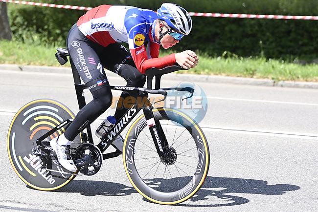 Rémi Cavagna (FRA) Deceuninck-QuickStep recces the route during Stage 1 of the 2021 Giro d'Italia, and individual time trial running 8.6km around Turin, Italy. 8th May 2021.  <br /> Picture: LaPresse/Fabio Ferrari | Cyclefile<br /> <br /> All photos usage must carry mandatory copyright credit (© Cyclefile | LaPresse/Fabio Ferrari)