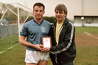 Paul Wilson receives the Barking FC Player of the Season Award for 1986-87 from manager George Borg - MANDATORY CREDIT: Gavin Ellis/TGSPHOTO - Self billing applies where appropriate - Tel: 0845 094 6026