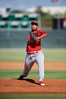 GCL Cardinals starting pitcher Brian Pirela (25) delivers a pitch during a game against the GCL Nationals on August 5, 2018 at Roger Dean Chevrolet Stadium in Jupiter, Florida.  GCL Cardinals defeated GCL Nationals 17-7.  (Mike Janes/Four Seam Images)