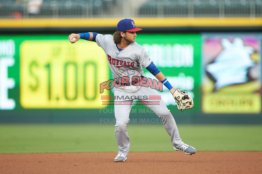 Buffalo Bisons shortstop Bo Bichette (13) makes a throw to first base against the Caballeros de Charlotte at BB&T BallPark on July 23, 2019 in Charlotte, North Carolina. The Bisons defeated the Caballeros 8-1. (Brian Westerholt/Four Seam Images)
