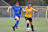 Olivia Ingham of Capita competes for the ball with Rose Morton of Southern during the Handa Women's Premiership - Capital Football v Southern United at Petone Memorial Park, Wellington on Saturday 7 November 2020.<br /> Copyright photo: Masanori Udagawa /  www.photosport.nz