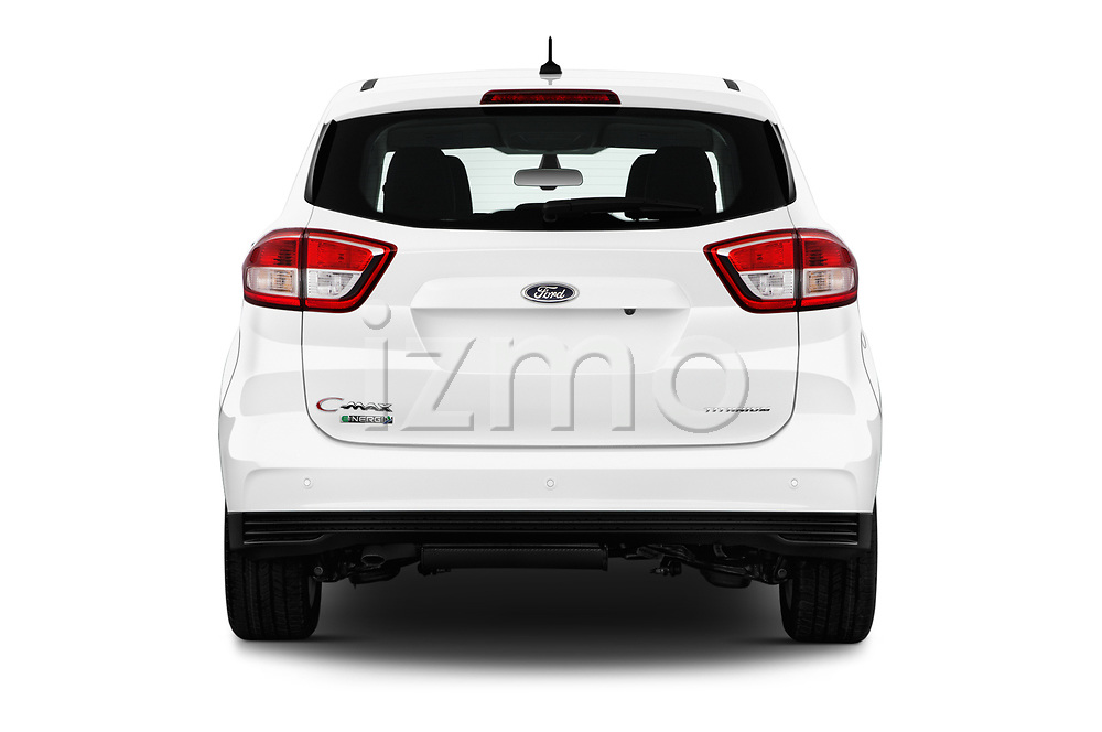 Straight rear view of a 2017 Ford C-Max PHEV SE 5 Door Mini Van stock images