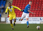 St Johnstone v St Mirren....21.03.15<br /> Yoann Arquin pulls Brian Easton back<br /> Picture by Graeme Hart.<br /> Copyright Perthshire Picture Agency<br /> Tel: 01738 623350  Mobile: 07990 594431