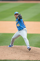 Myrtle Beach Pelicans starting pitcher Jonathan Martinez (40) in action against the Winston-Salem Dash at BB&T Ballpark on May 10, 2015 in Winston-Salem, North Carolina.  The Pelicans defeated the Dash 4-3.  (Brian Westerholt/Four Seam Images)