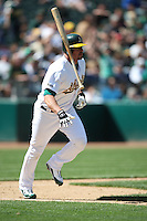 OAKLAND, CA - APRIL 25:  Jason Giambi of the Oakland Athletics hits a home run (#397) during the game against the Tampa Bay Rays at the Oakland-Alameda County Coliseum in Oakland, California on Saturday, April 25, 2009.  The Athletics defeated the Rays 5-2.  Photo by Brad Mangin
