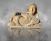 Etruscan sculpted Hellenistic style cinerary, funreary, urn cover with a women ,  National Archaeological Museum Florence, Italy , grey art background