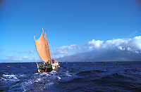 Hokule'a sailing toward Moloka'i (background), Pailolo Channel.