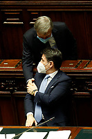 The deputy of Democratic Party Graziano Delrio and the Italian Premier Giuseppe Conte wearing a face mask during the information at the Lower Chamber about the Government crisis..<br /> Rome(Italy), January 18th 2021<br /> Photo Samantha Zucchi/Insidefoto