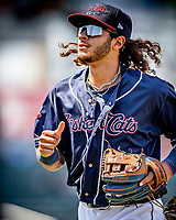 6 June 2021: New Hampshire Fisher Cats infielder Austin Martin returns to the dugout during a game against the Binghamton Rumble Ponies at Northeast Delta Dental Stadium in Manchester, NH. The Rumble Ponies defeated the Fisher Cats 9-6 to close out their 6-game series. Mandatory Credit: Ed Wolfstein Photo *** RAW (NEF) Image File Available ***