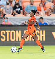 HOUSTON, TEXAS - SEPTEMBER 10: Jasmine Spencer #22 of the Houston Dash brings the ball up the field during a game between Chicago Red Stars and Houston Dash at BBVA Stadium on September 10, 2021 in Houston, Texas.