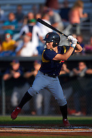State College Spikes outfielder Craig Aikin (12) at bat during a game against the Auburn Doubledays on July 6, 2015 at Falcon Park in Auburn, New York.  State College defeated Auburn 9-7.  (Mike Janes/Four Seam Images)