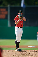 Batavia Muckdogs starting pitcher Andrew Miller (8) during a NY-Penn League game against the Williamsport Crosscutters on August 25, 2019 at Dwyer Stadium in Batavia, New York.  Williamsport defeated Batavia 10-3.  (Mike Janes/Four Seam Images)