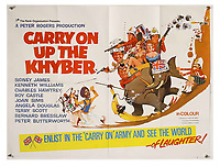BNPS.co.uk (01202 558833)<br /> Pic: Ewbank's/BNPS<br /> <br /> Pictured: Carry On Up the Khyber (1968) poster sold for £440. <br /> <br /> A saucy collection of more than 20 vintage film posters from the 'Carry On' films have sold for almost £10,000.<br /> <br /> The 30ins by 40ins British quad posters were used on cinema billboards to advertise the comedy movies from the 1960s and '70s.<br /> <br /> The colourful posters depict comedy actors like Sid James, Kenneth Williams and Barbara Windsor who regularly starred in the comedy caper franchise.