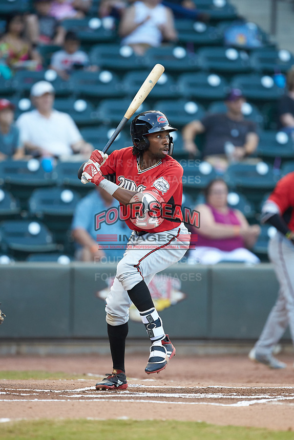 Wes Rogers (24) of the Carolina Mudcats at bat against the Winston-Salem Dash at BB&T Ballpark on June 1, 2019 in Winston-Salem, North Carolina. The Dash defeated the Mudcats 5-4 in game two of a double header. (Brian Westerholt/Four Seam Images)