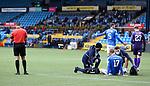 01.11.2020 Kilmarnock v Rangers:  Ref Andrew Dallas stops play as Stuart Findlay is injured on the goal line