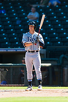 Peoria Javelinas designated hitter Joe McCarthy (21), of the Tampa Bay Rays organization, at bat during an Arizona Fall League game against the Surprise Saguaros at Surprise Stadium on October 17, 2018 in Surprise, Arizona. (Zachary Lucy/Four Seam Images)