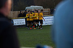 Alvechurch FC 3 Highgate United 0, 26/12/2016. Lye Meadow, Midland Football League Premier Division. The home team players celebrating their team's opening goal at Lye Meadow as Alvechurch (in amber) hosted Highgate United in a Midland Football League premier division match. Originally founded in 1929 and reformed in 1996 after going bust, the club has plans to move from their current historic ground to a new purpose-built stadium in time for the 2017-18 season. Alvechurch won this particular match by 3-0, watched by 178 spectators, taking them back to the top of the league. Photo by Colin McPherson.