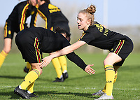 20190226 - LARNACA , CYPRUS :  Belgian Elena Dhont (right) pictured in a duel with Belgian Lola Wajnblum (left) during a Matchday -1 training from The Belgian Red Flames prior to their game against the women team of Slovakia , on Tuesday 26 February 2019 at the Alpha Sports Grounds in Larnaca , Cyprus . This will be the first game in group C for Belgium during the Cyprus Womens Cup 2019 , a prestigious women soccer tournament as a preparation on the European Championship 2021 qualification duels. PHOTO SPORTPIX.BE   DAVID CATRY