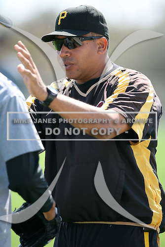 February 26, 2009:  Minor League pitching coach Miguel Bonilla of the Pittsburgh Pirates organization during Spring Training at Pirate City in Bradenton, FL.   Photo by:  Mike Janes/Four Seam Images