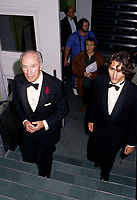 Pierre Eliott Trudeau (R) and his son Justin (L) <br /> enters the Bonsecour Market where a fundraiser event his held, September 1996, in Montreal, CANADA.<br /> <br /> Justin annonced he may be a Liberal Candidate in the2007 next Canadian election. <br /> <br /> Pierre Eliott Trudeau was Prime Minister of Canada from<br /> 1968–1979 and 1980-1984.  He died September 28, 2000<br /> <br /> <br /> Photo : (c) 1996.  Pierre Roussel - images Distribution