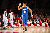 NEW YORK, NY - Sunday December 21, 2015: Desi Rodriguez (#20) of Seton Hall converts a three-pointer in the first half against St. John's as the two teams square off in regular season play at Madison Square Garden.