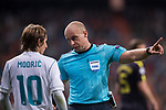 Referees Szymon Marciniak (R) talks with Luka Modric of Real Madrid (L) during the UEFA Champions League 2017-18 match between Real Madrid and Tottenham Hotspur FC at Estadio Santiago Bernabeu on 17 October 2017 in Madrid, Spain. Photo by Diego Gonzalez / Power Sport Images