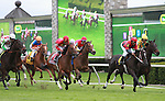 16 April 2011.  Never Retreat and Shaun Bridgmohan win the 23rd running of the Jenny Wiley GRII $200,000 at Keeneland Racecourse.