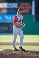 Williamsport Crosscutters starting pitcher Ethan Lindow (19) gets ready to deliver a pitch during a game against the Batavia Muckdogs on June 21, 2018 at Dwyer Stadium in Batavia, New York.  Batavia defeated Williamsport 6-5.  (Mike Janes/Four Seam Images)