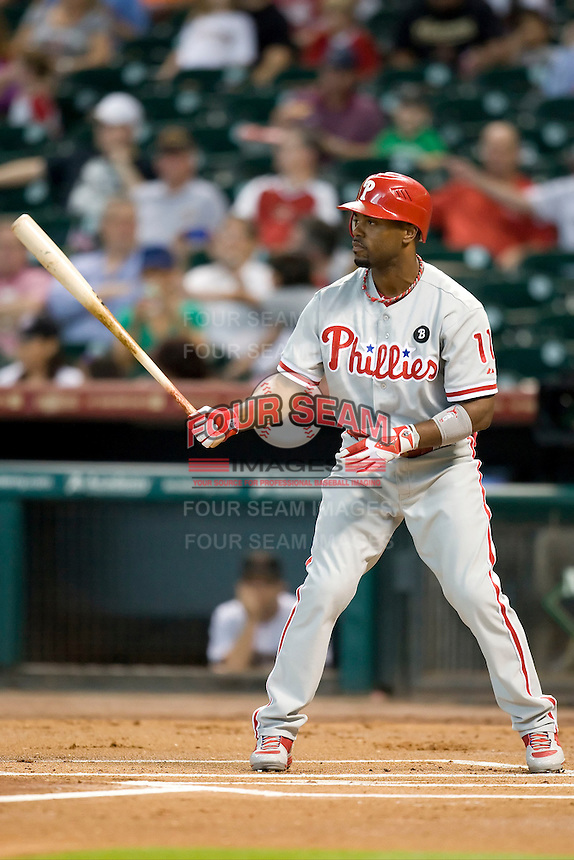 Philadelphia Phillies shortstop Jimmy Rollins #11 XXX during the Major League Baseball game against the Houston Astros at Minute Maid Park in Houston, Texas on September 12, 2011. Houston defeated Philadelphia 5-1.  (Andrew Woolley/Four Seam Images)