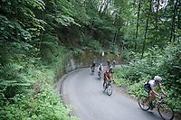 Philippe Gilbert (BEL/BMC)  behind Fabio Felline (ITA/Trek Factory Racing) up the Passo Del Mortirolo (1854m) on stage 16: Pinzolo - Aprica (174km) of the 2015 Giro d'Italia