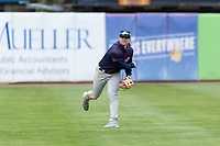 Cedar Rapids Kernels left fielder Jacob Pearson (2) during a Midwest League game against the Kane County Cougars at Northwestern Medicine Field on April 28, 2019 in Geneva, Illinois. Cedar Rapids defeated Kane County 3-2 in game two of a doubleheader. (Zachary Lucy/Four Seam Images)