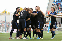 SAN JOSE, CA - AUGUST 24: Judson #93 of the San Jose Earthquakes celebrates scoring with teammates during a Major League Soccer (MLS) match between the San Jose Earthquakes and the Vancouver Whitecaps FC  on August 24, 2019 at Avaya Stadium in San Jose, California.