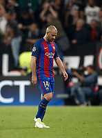 Football Soccer: UEFA Champions UEFA Champions League quarter final first leg Juventus-Barcellona, Juventus stadium, Turin, Italy, April 11, 2017. <br /> Barcellona's Javier Mascherano leaves at the end of the Uefa Champions League football match between Juventus and Barcelona at the Juventus stadium, on April 11 ,2017.<br /> UPDATE IMAGES PRESS/Isabella Bonotto